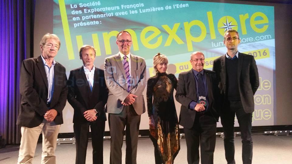 Alain Tixier, Olivier Archambeau, Bruno David, Véra Frossard, Michel Cornille et Claude Farge lors du Lumexplore 2016
